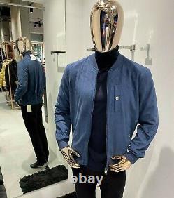 Brunello Cucinelli Daim Bleu Veste Taille 50 56 (100% Authentic&new)