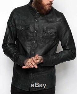 Chemise Homme Veste Noire Réel Souple En Cuir Véritable Peau D'agneau Washed Cirée Chemise En Cuir