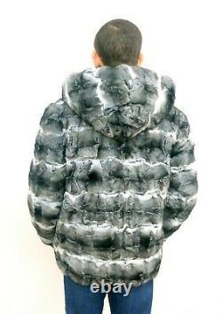 Chinchilla Fur Hommes Capuche Manteau Taille XL Réel Véritable 100% Naturel Nouveau