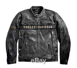 Classique Harley Davidson Passing Lien Distressed Veste Moto En Cuir Pour Hommes