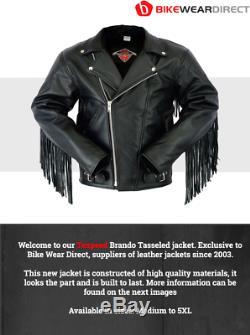 Cuir Tassel Fringe Moto Veste Brando Cruiser Perfecto Motard