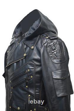 Cuir Véritable Haut De Gamme Pour Hommes Motard Top Leder Veste Noire À Capuche