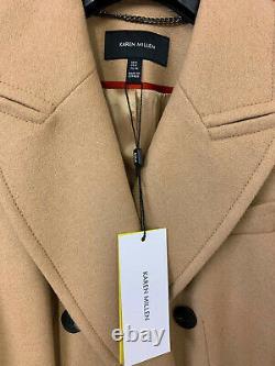 Double-karen Millen Boutonnage Belted Wrap Manteau D'hiver Chaud Veste Camel Intelligente