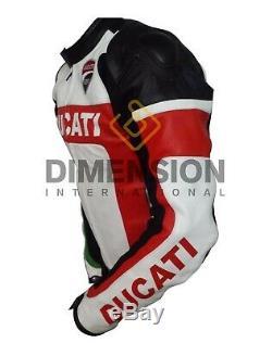Ducati Moto Moto Veste Cuir Véritable Jackest Racing Team Ce Blindé