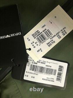 Emporio Armani Green Zip Blouson Veste À Capuche Manteau 3z1b66 Grand 52 Nouvelles Étiquettes
