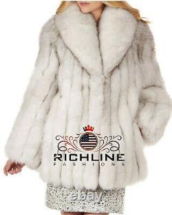 Femme Bleu Fox Vintage Veste De Fourrure Manteau Nouvelle Arrivée