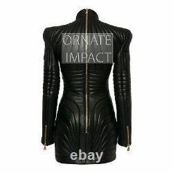 Femmes En Cuir Noir Trench Steampunk Robe Gothique Punk Veste De Manteau Victorien