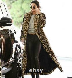 Femmes Faux Fourrure Leopard Coat Winter Warm Furry Long Jacket Outwear Lapel Parka