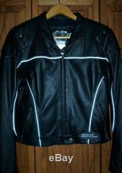 Femmes Harley Davidson Cuir Noir Veste New Nwt Riding Medium
