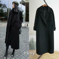 Femmes Noir Cachemire Sur Le Manteau Chaud Vestes Épaisses Ceinture Longue Tranchée En Laine Manteau Chaud