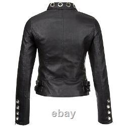 Femmes Real Black Leather Studed Eyelet Moto Biker Veste En Cuir Eyelet Veste