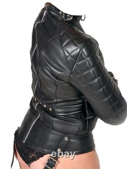 Femmes Real Leather Straight Jacket Femmes Matelassées Veste Droite Matelassée Ceinturée