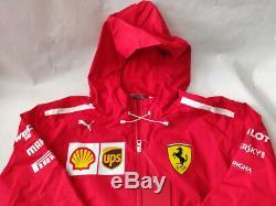 Ferrari Scuderia Mens F1 Racing Rain Jacket Tissé Par Puma 762365-01 Pdsf 225 $ Sz