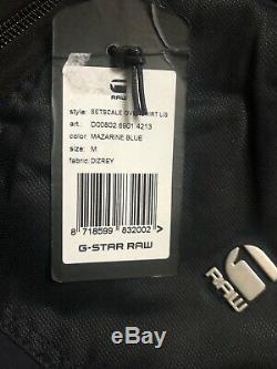 G-star Raw Bleu Mazarine Setscale Surchemise Bomber Jacket Coat M Nouveau Balises