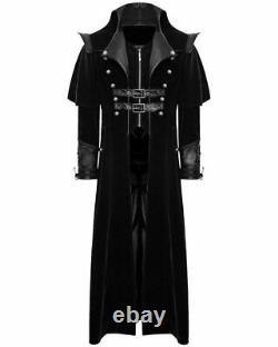 Gothic Steampunk Military Black Jacket Homme Punk Highwayman Regency Long Coat