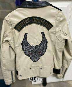Harley Davidson Femmes Nataliya Winged Moteur Biker Tan Veste En Cuir. Taille M