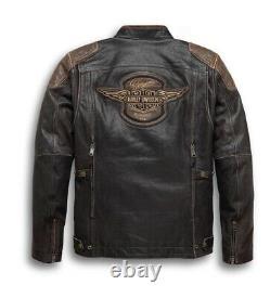 Harley Davidson H-d Triple Système D'évent Trostel En Cuir Cassé Veste Biker