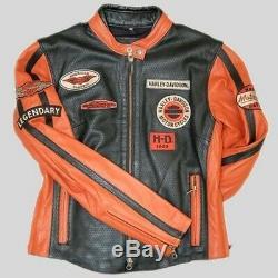 Harley Davidson Lg Nwt Veste En Cuir Whirlwind 98116-07vw Perforé Café Racer