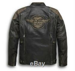 Harley Davidson Limited Edition Triple Système Vent Antique Brown Veste En Cuir