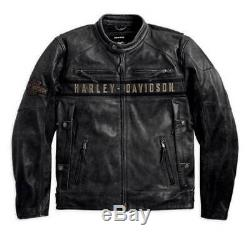 Harley Davidson Passing Link Veste De Moto En Cuir Noir Motif Pour Hommes