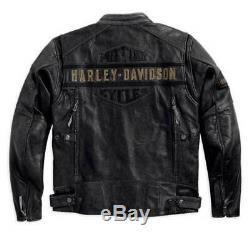 Harley Davidson Passing Link Veste En Cuir Pour Hommes Biker Cafe Racer Noir
