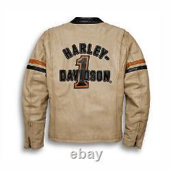 Harley Davidson Racing Veste En Cuir Pour Hommes