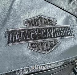 Harley Davidson Votaire Homme Veste En Cuir Gris Noir