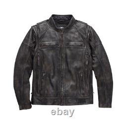 Harley-davidson Moto Cowhide Motorcycle Jacket Veste En Cuir Authentique