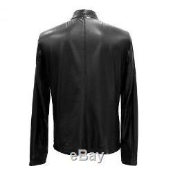 Haut En Cuir Véritable Zilli Noir Qualité Des Hommes Slim Fit Lambskin Jacket