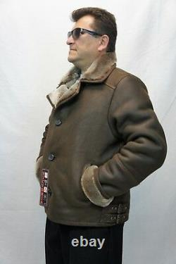 Homme 100% Real Sheepskin Shearling Leather Car Coat Bomber Jacket S-5xl, Taupe