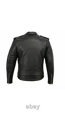 Homme Brando Veste En Cuir Véritable Moto Perfecto Black Marlon Biker Veste