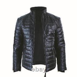 Homme Original Leather Genuine Matelassé Puffer Zippé Veste Black Casual 2020