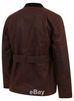 Hommes Antique Coton Ciré Moto Manteau Veste Motard Cirée Avec Ceinture Manteau Lewis Cre
