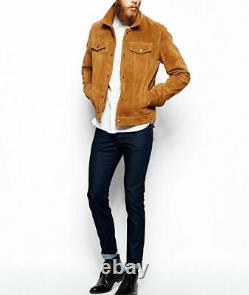 Hommes Brown Trucker Western Style Vintage Slim Fit Veste En Cuir Véritable Suede