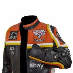 Hommes Cowhide Biker Veste En Cuir / Hdmm Mickey Rourke's Veste Pour Hommes