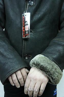 Hommes Genuine Real Sheepskin Shearling Leather Car Coat Bomber Jacket S-5xl, T.n.-o.
