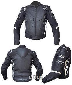 Hommes Guerrier Tous Noir Gp Drapeau Moto Moto Biker Jacket Ce Armor
