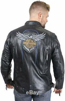 Hommes Harley Davidson 115e Anniversaire Édition Limitée En Cuir Jac- Nouvelle Arrivée