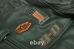 Hommes Harley Davidson Criant Eagle Moto Moto Cowhide Veste En Cuir