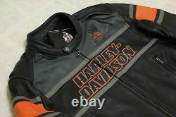 Hommes Harley Davidson Rumble Colorblocked Veste De Motard En Cuir Véritable Cowhide