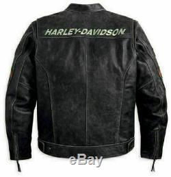 Hommes Motard Noir Harley Motorcycle Retro Stripes Distress Vintage Veste En Cuir