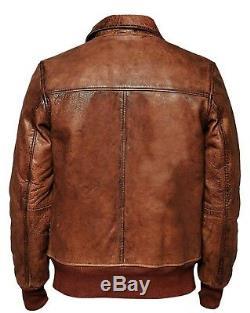 Hommes Motard Vintage Distressed Brown Bomber Hiver Veste En Cuir