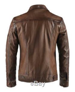 Hommes Noir Marron Cuir Véritable Veste Vintage Slim Fit Jacket Retro Véritable Nouveau