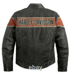 Hommes Real Cowhide Harley Davidson Victory Lane Moto Cracker Veste En Cuir