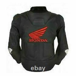 Honda Black Motorbike Track Days Cowhide Leather Ce Protectors Veste