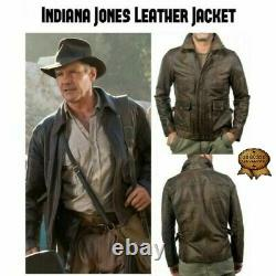 Indiana Jones Harrison Ford Classique Veste Véritable En Cuir Dérangé