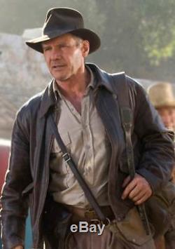 Indiana Jones Harrison Veste En Cuir Véritable Vintage Véritable Peau De Mouton Marron