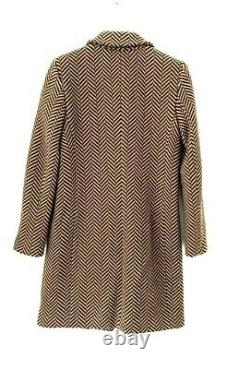 Jaeger Ladies Brown Checked Double Breasted City Hiver Manteau Veste Longue 6 16