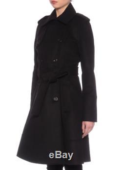 Karen Millen Noir Manteau D'hiver Trench Militaire Tailored Longue Veste En Laine 8 À 16