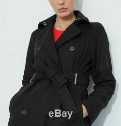 Karen Millen Nouveau Noir Tailored Long Belted Trench Coat Casual Jacket Uk 6 16